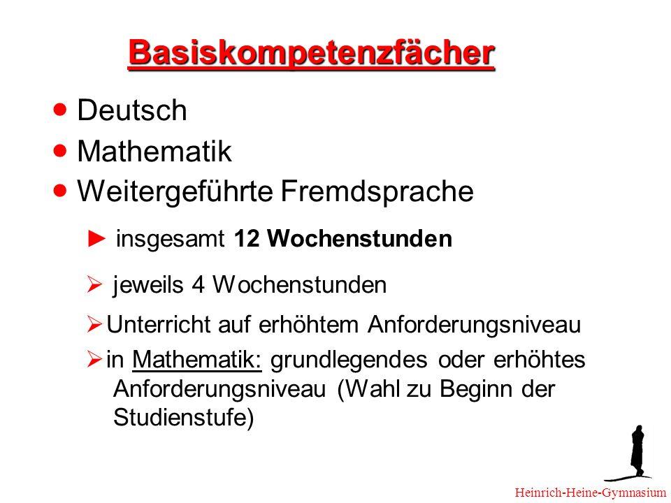 Basiskompetenzfächer Deutsch Mathematik Weitergeführte Fremdsprache insgesamt 12 Wochenstunden jeweils 4 Wochenstunden Unterricht auf erhöhtem Anforderungsniveau in Mathematik: grundlegendes oder erhöhtes Anforderungsniveau (Wahl zu Beginn der Studienstufe) Heinrich-Heine-Gymnasium