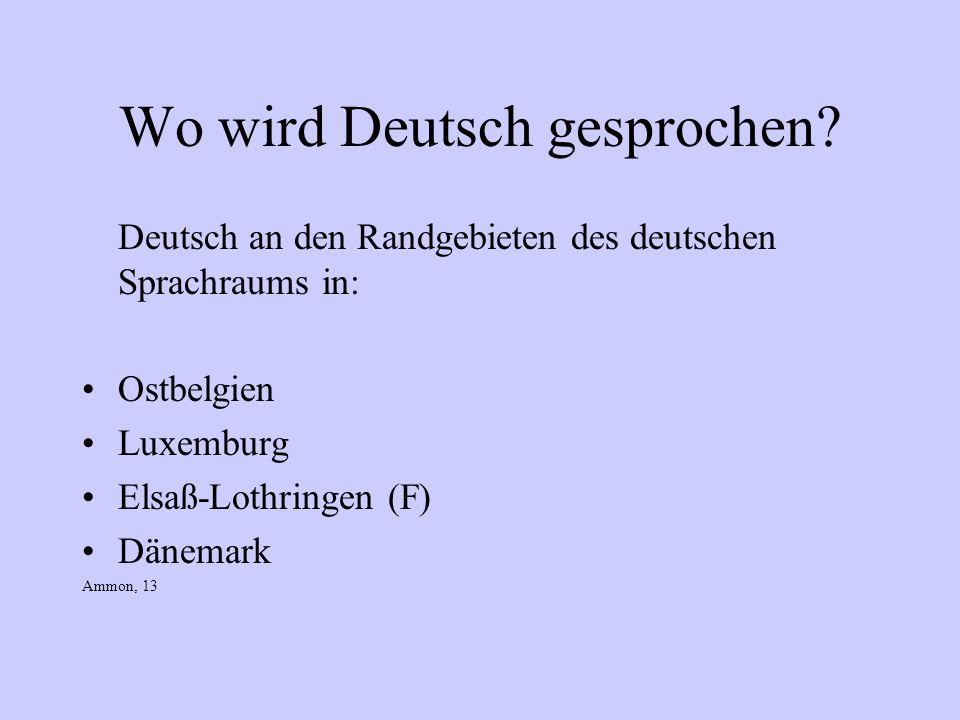 Wo wird Deutsch gesprochen? Deutsch an den Randgebieten des deutschen Sprachraums in: Ostbelgien Luxemburg Elsaß-Lothringen (F) Dänemark Ammon, 13