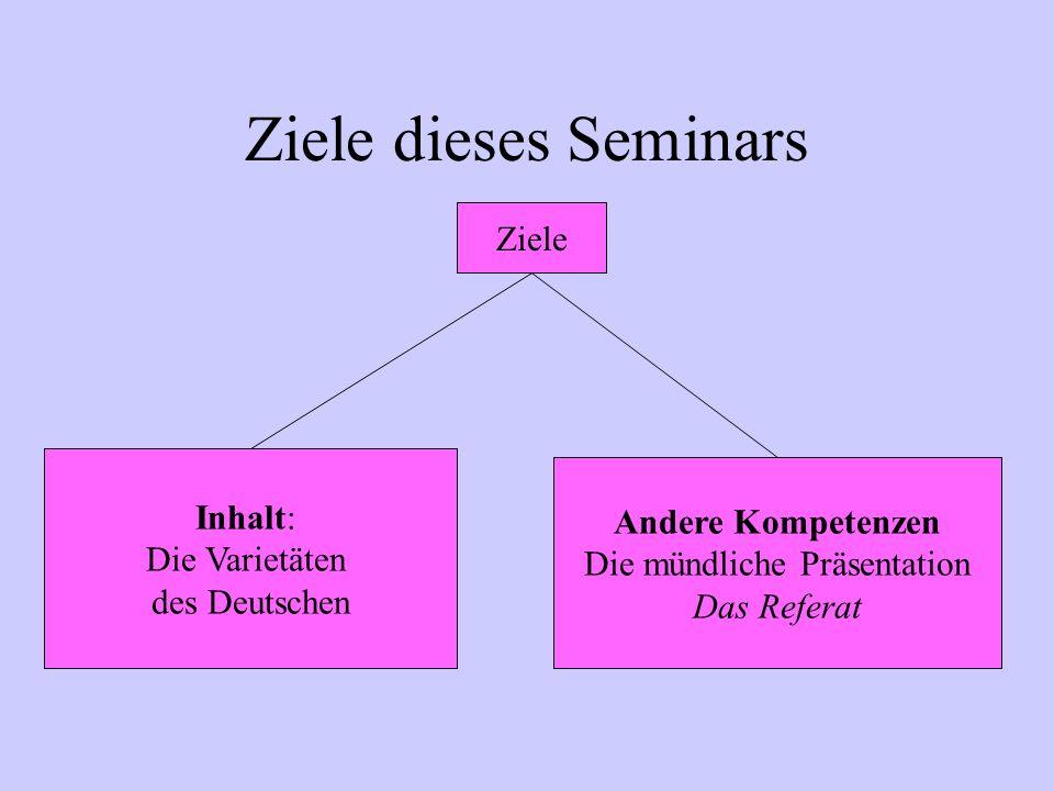 Ziele dieses Seminars Inhalt: Die Varietäten des Deutschen Andere Kompetenzen Die mündliche Präsentation Das Referat Ziele