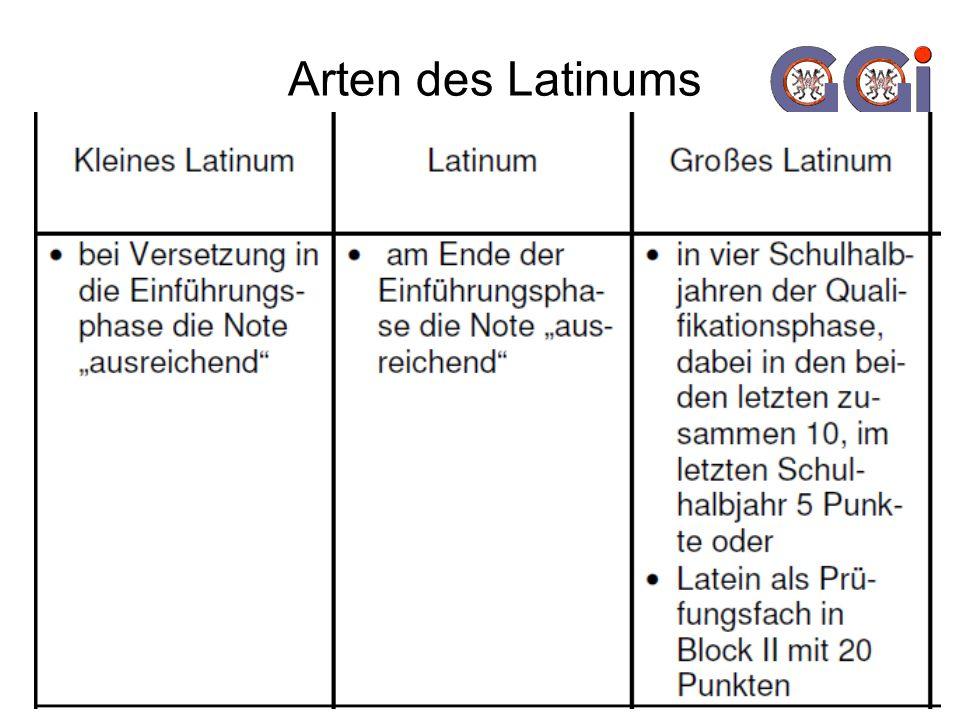 Arten des Latinums