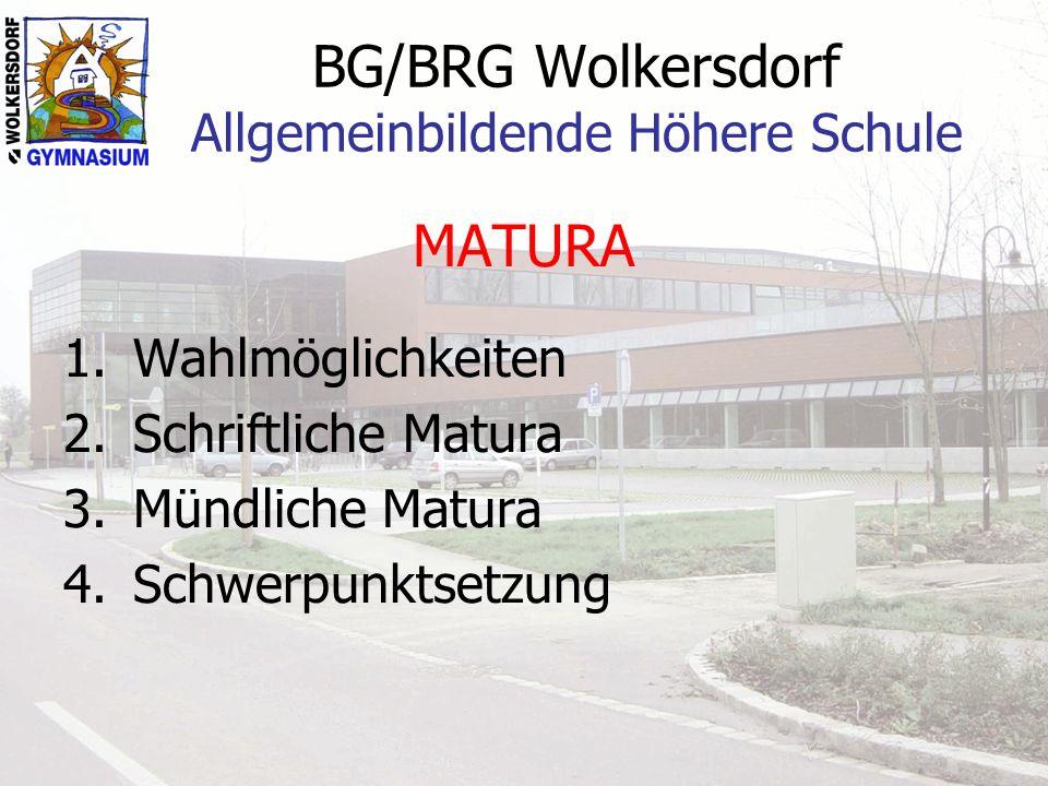 BG/BRG Wolkersdorf Allgemeinbildende Höhere Schule MATURA 1.Wahlmöglichkeiten 2.Schriftliche Matura 3.Mündliche Matura 4.Schwerpunktsetzung