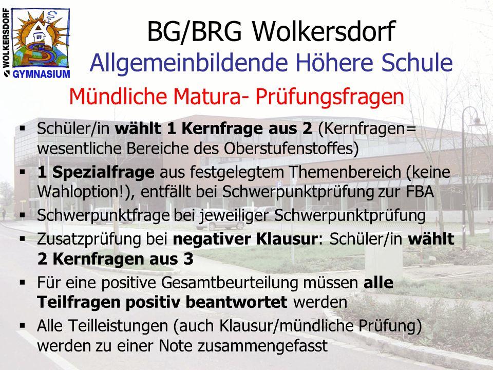 BG/BRG Wolkersdorf Allgemeinbildende Höhere Schule Mündliche Matura- Prüfungsfragen Schüler/in wählt 1 Kernfrage aus 2 (Kernfragen= wesentliche Bereic