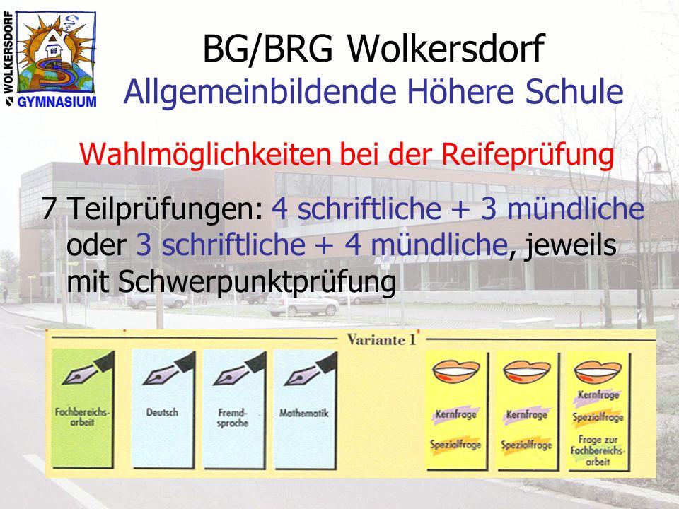 BG/BRG Wolkersdorf Allgemeinbildende Höhere Schule Wahlmöglichkeiten bei der Reifeprüfung 7 Teilprüfungen: 4 schriftliche + 3 mündliche oder 3 schrift