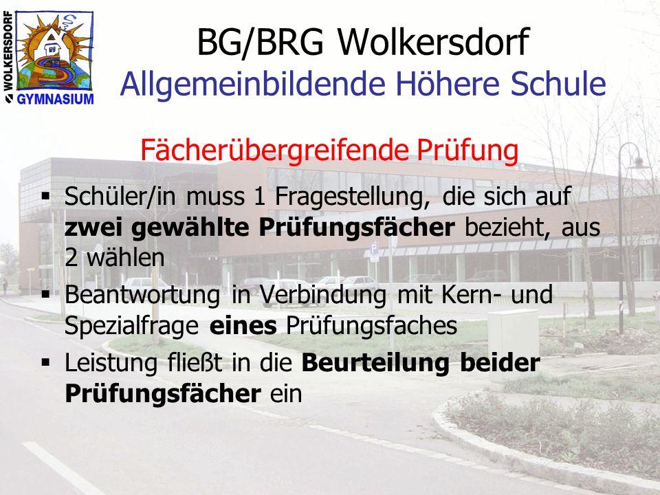 BG/BRG Wolkersdorf Allgemeinbildende Höhere Schule Fächerübergreifende Prüfung Schüler/in muss 1 Fragestellung, die sich auf zwei gewählte Prüfungsfäc