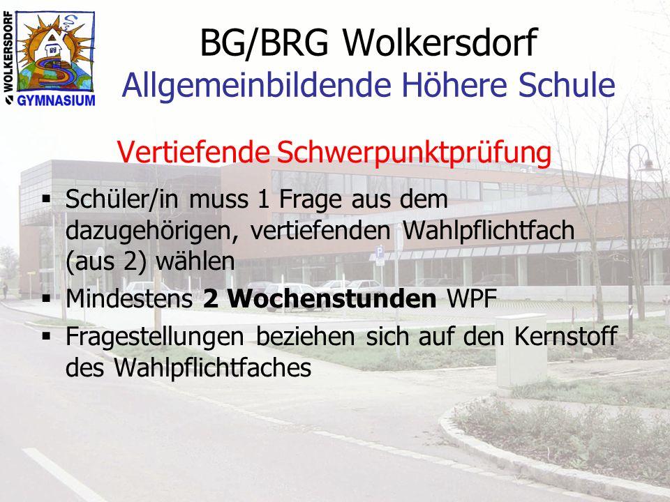 BG/BRG Wolkersdorf Allgemeinbildende Höhere Schule Vertiefende Schwerpunktprüfung Schüler/in muss 1 Frage aus dem dazugehörigen, vertiefenden Wahlpfli