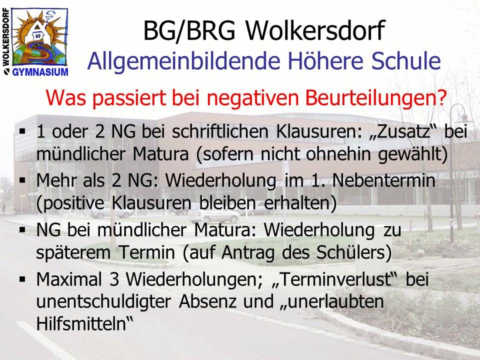 BG/BRG Wolkersdorf Allgemeinbildende Höhere Schule Was passiert bei negativen Beurteilungen? 1 oder 2 NG bei schriftlichen Klausuren: Zusatz bei mündl