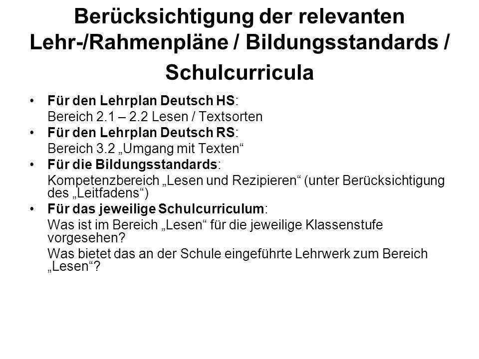 Berücksichtigung der relevanten Lehr-/Rahmenpläne / Bildungsstandards / Schulcurricula Für den Lehrplan Deutsch HS: Bereich 2.1 – 2.2 Lesen / Textsort