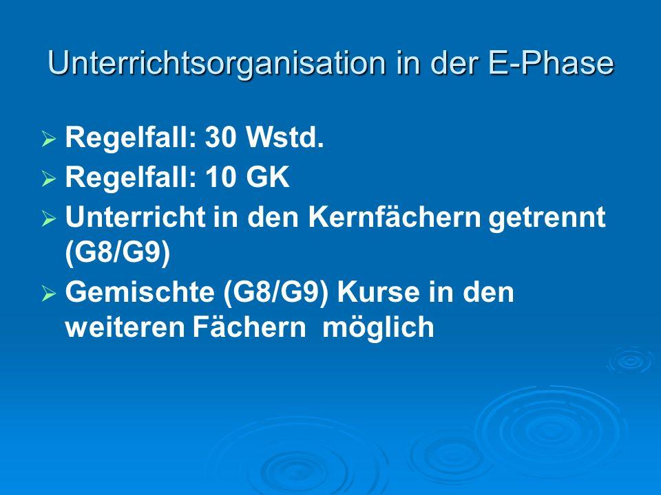 Unterrichtsorganisation in der E-Phase Regelfall: 30 Wstd.