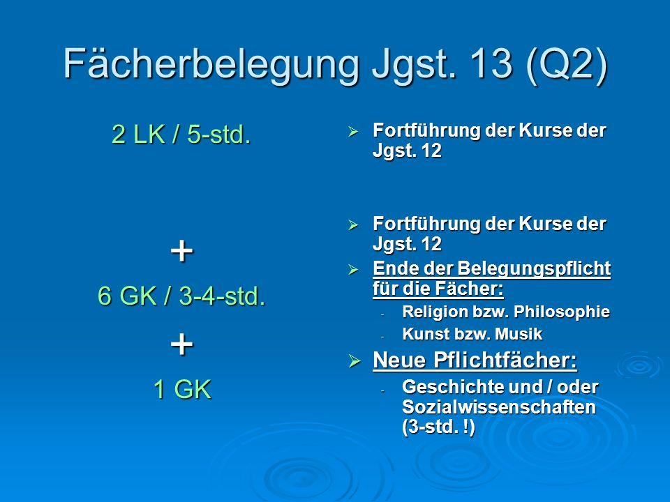 Fächerbelegung Jgst.13 (Q2) 2 LK / 5-std. + 6 GK / 3-4-std.
