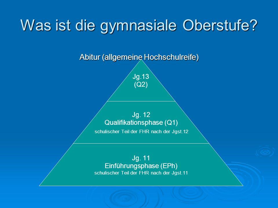 Was ist die gymnasiale Oberstufe. Abitur (allgemeine Hochschulreife) Jg.13 (Q2) Jg.