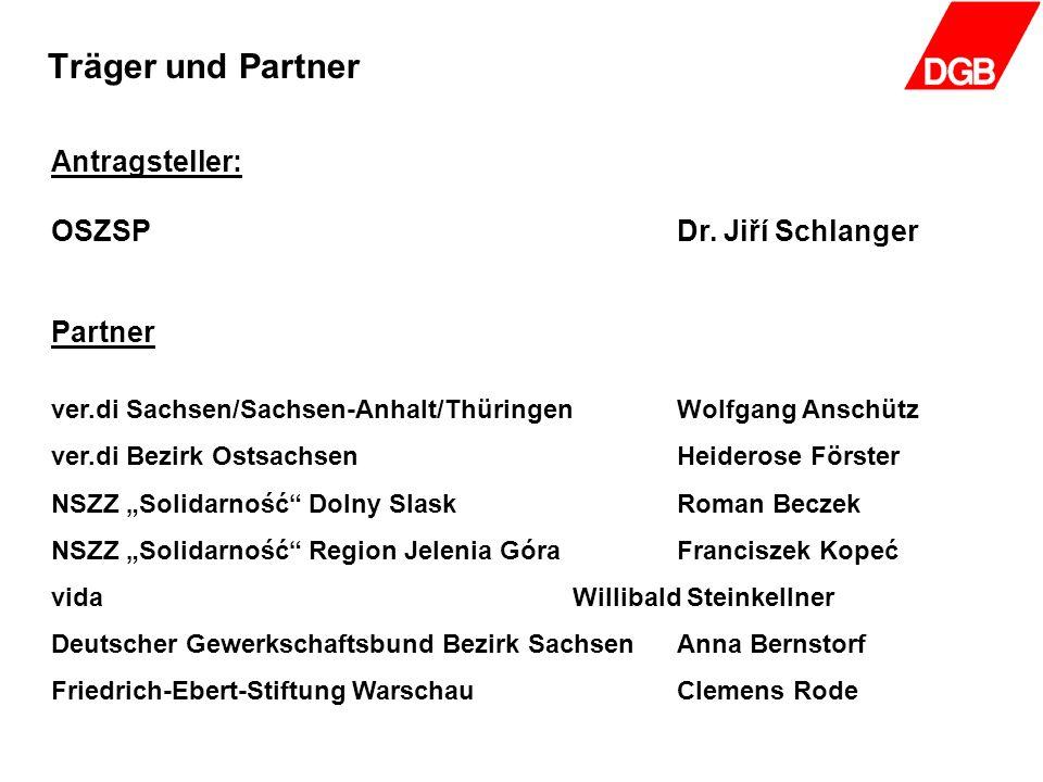 Träger und Partner Antragsteller: OSZSPDr. Jiří Schlanger Partner ver.di Sachsen/Sachsen-Anhalt/ThüringenWolfgang Anschütz ver.di Bezirk OstsachsenHei