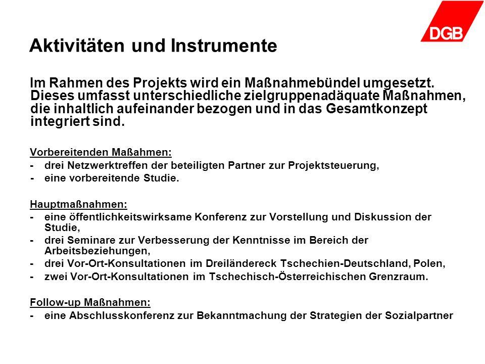 Aktivitäten und Instrumente Im Rahmen des Projekts wird ein Maßnahmebündel umgesetzt. Dieses umfasst unterschiedliche zielgruppenadäquate Maßnahmen, d