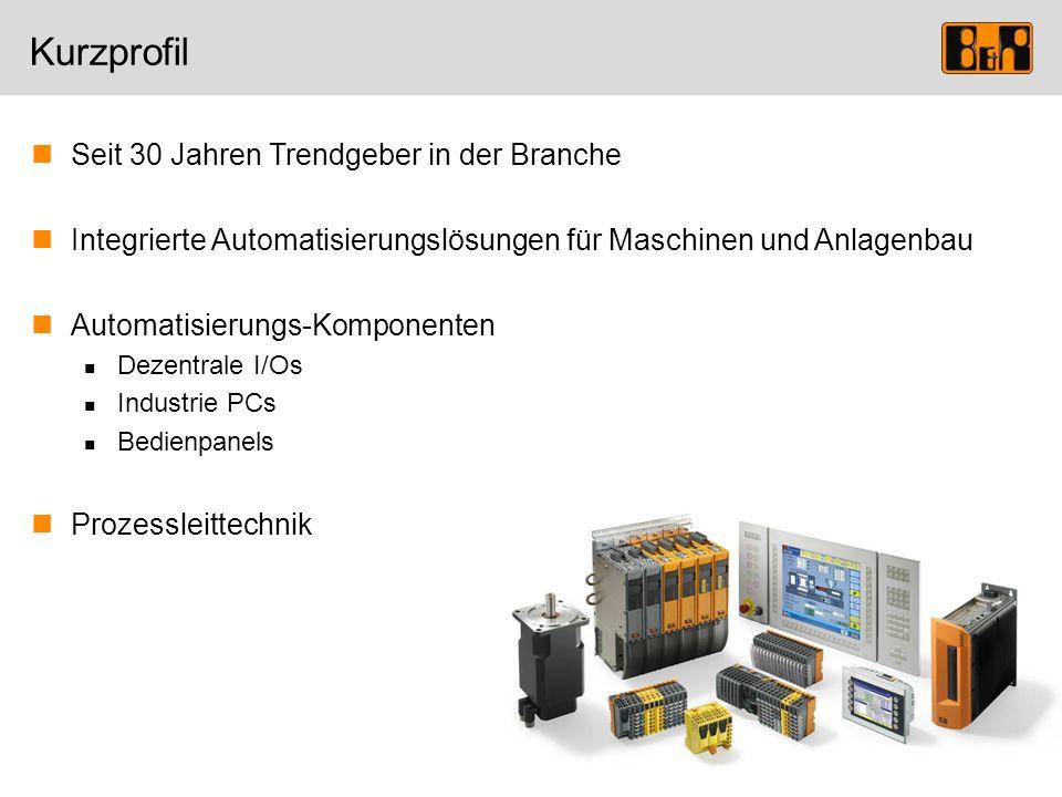 Seit 30 Jahren Trendgeber in der Branche Integrierte Automatisierungslösungen für Maschinen und Anlagenbau Automatisierungs-Komponenten Dezentrale I/O