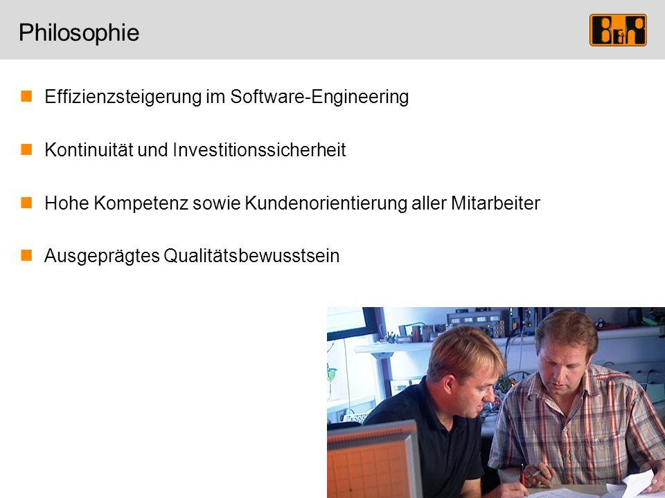 Philosophie Effizienzsteigerung im Software-Engineering Kontinuität und Investitionssicherheit Hohe Kompetenz sowie Kundenorientierung aller Mitarbeit