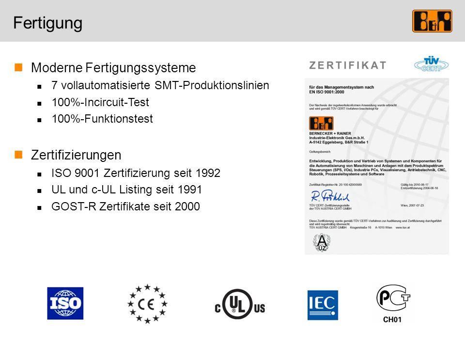 Fertigung Moderne Fertigungssysteme 7 vollautomatisierte SMT-Produktionslinien 100%-Incircuit-Test 100%-Funktionstest Zertifizierungen ISO 9001 Zertif