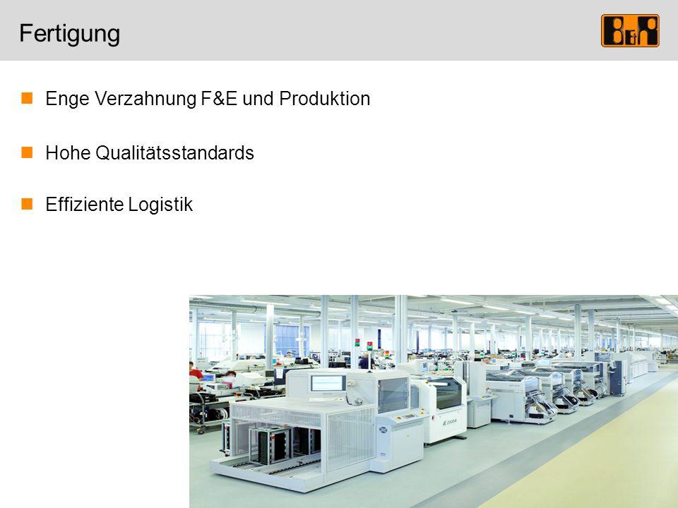 Fertigung Enge Verzahnung F&E und Produktion Hohe Qualitätsstandards Effiziente Logistik