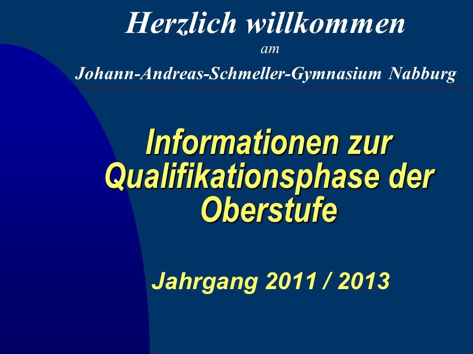 Informationen zur Qualifikationsphase der Oberstufe Jahrgang 2011 / 2013 Johann-Andreas-Schmeller-Gymnasium Nabburg Herzlich willkommen am