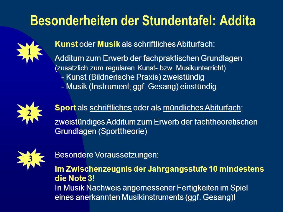 Besonderheiten der Stundentafel: Addita Kunst oder Musik als schriftliches Abiturfach: Additum zum Erwerb der fachpraktischen Grundlagen (zusätzlich z