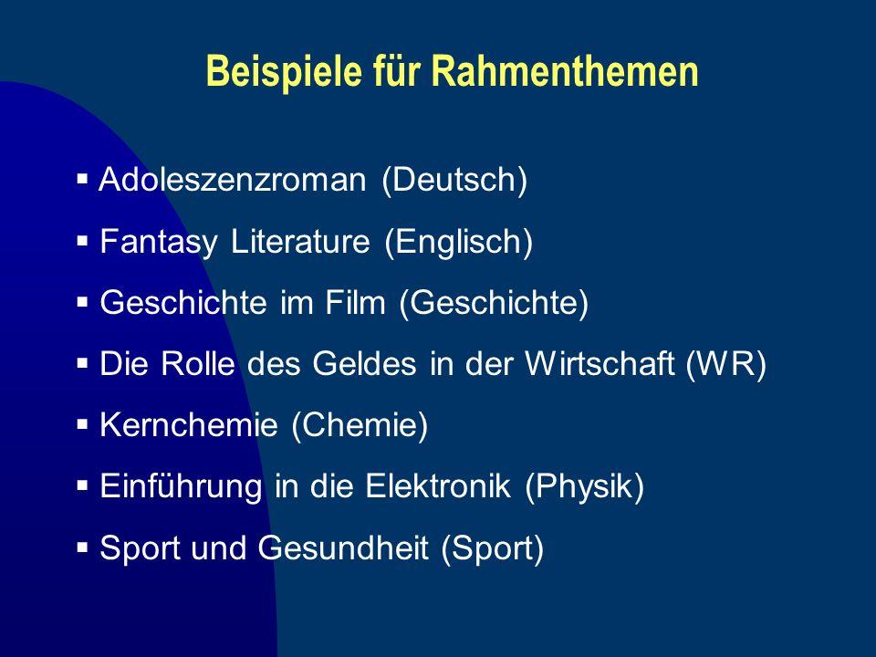 Beispiele für Rahmenthemen Adoleszenzroman (Deutsch) Fantasy Literature (Englisch) Geschichte im Film (Geschichte) Die Rolle des Geldes in der Wirtsch