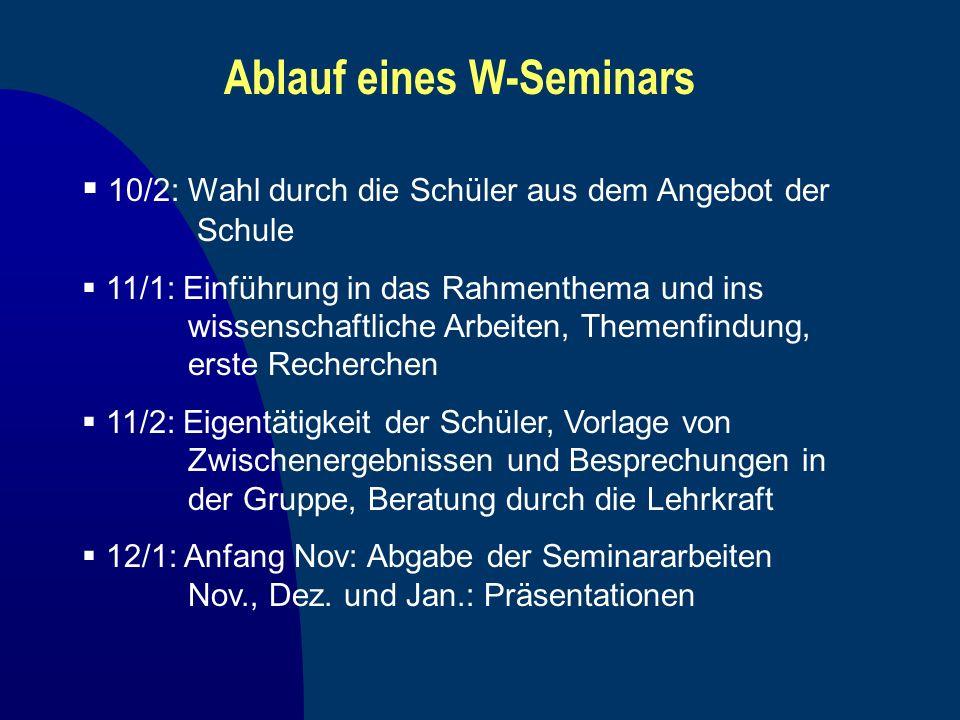 Ablauf eines W-Seminars 10/2: Wahl durch die Schüler aus dem Angebot der Schule 11/1: Einführung in das Rahmenthema und ins wissenschaftliche Arbeiten