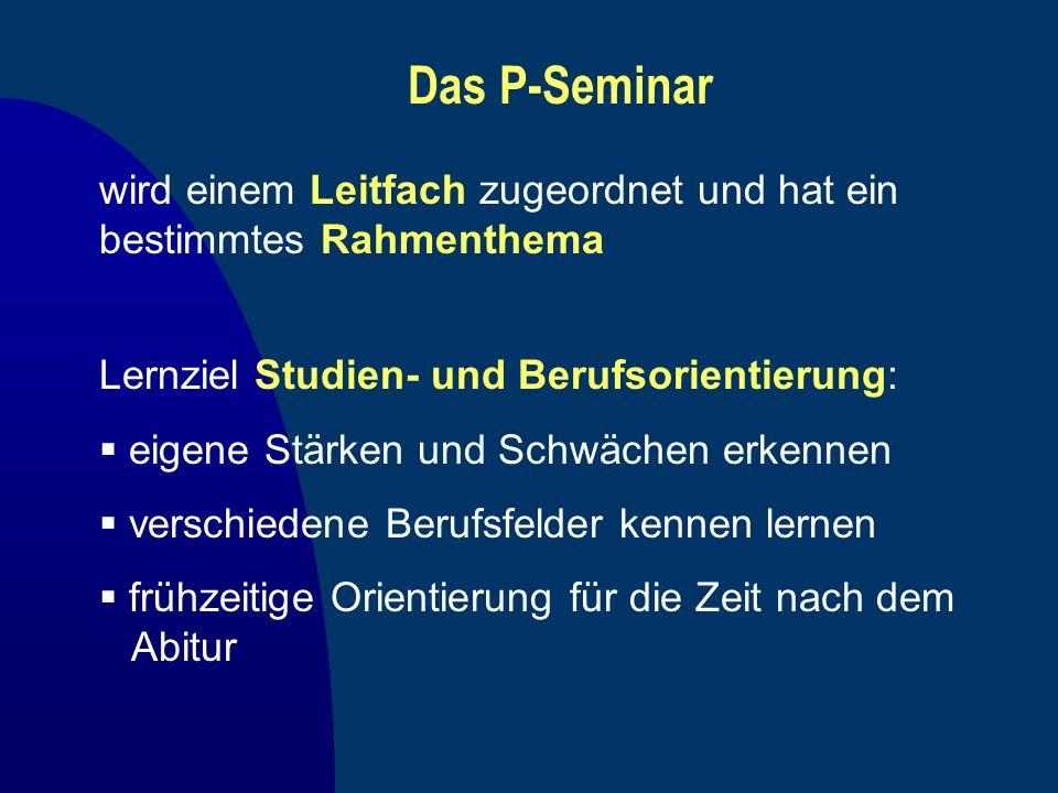 Das P-Seminar Lernziel Studien- und Berufsorientierung: eigene Stärken und Schwächen erkennen verschiedene Berufsfelder kennen lernen frühzeitige Orie