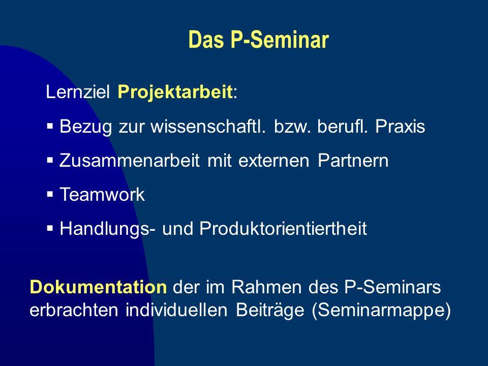 Das P-Seminar Lernziel Projektarbeit: Bezug zur wissenschaftl. bzw. berufl. Praxis Zusammenarbeit mit externen Partnern Teamwork Handlungs- und Produk