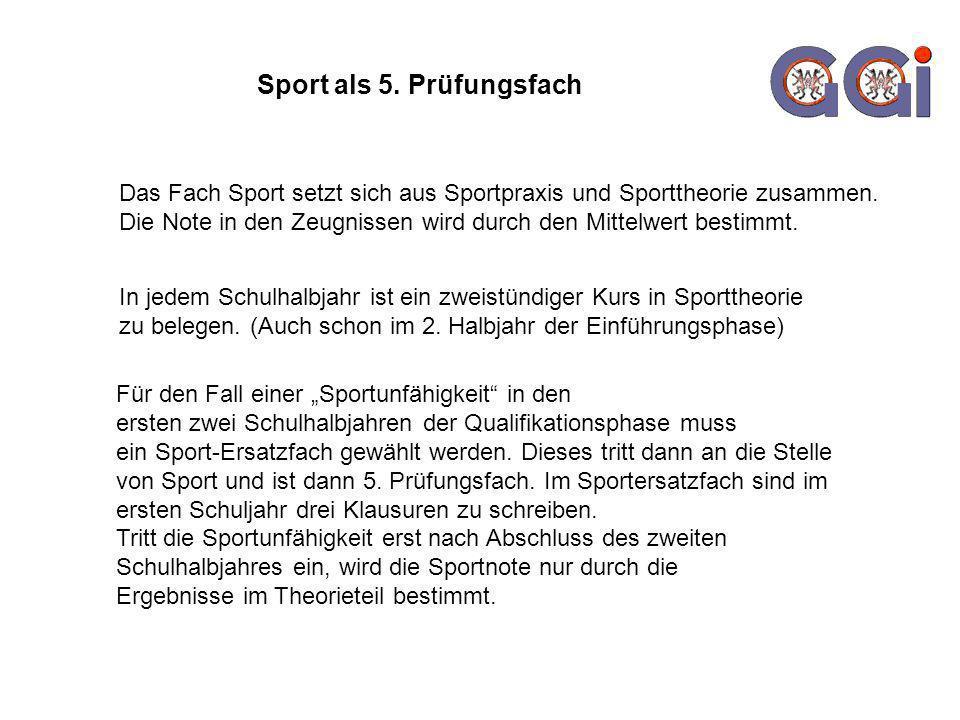 Sport als 5. Prüfungsfach Das Fach Sport setzt sich aus Sportpraxis und Sporttheorie zusammen. Die Note in den Zeugnissen wird durch den Mittelwert be