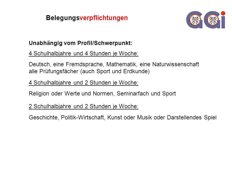 Belegungsverpflichtungen 4 Schulhalbjahre und 4 Stunden je Woche: Deutsch, eine Fremdsprache, Mathematik, eine Naturwissenschaft alle Prüfungsfächer (