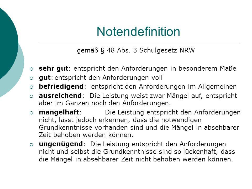 Notendefinition gemäß § 48 Abs. 3 Schulgesetz NRW sehr gut: entspricht den Anforderungen in besonderem Maße gut:entspricht den Anforderungen voll befr