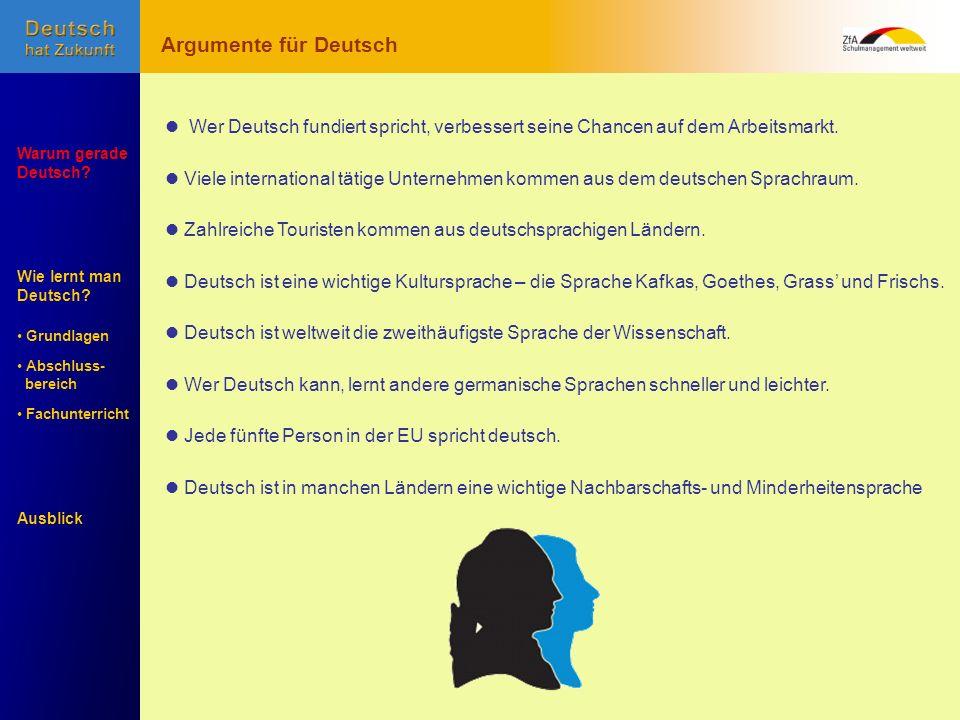 Wie lernt man Deutsch? Warum gerade Deutsch? Ausblick Grundlagen Abschluss- Abschluss- bereich Fachunterricht Fachunterricht Wer Deutsch fundiert spri