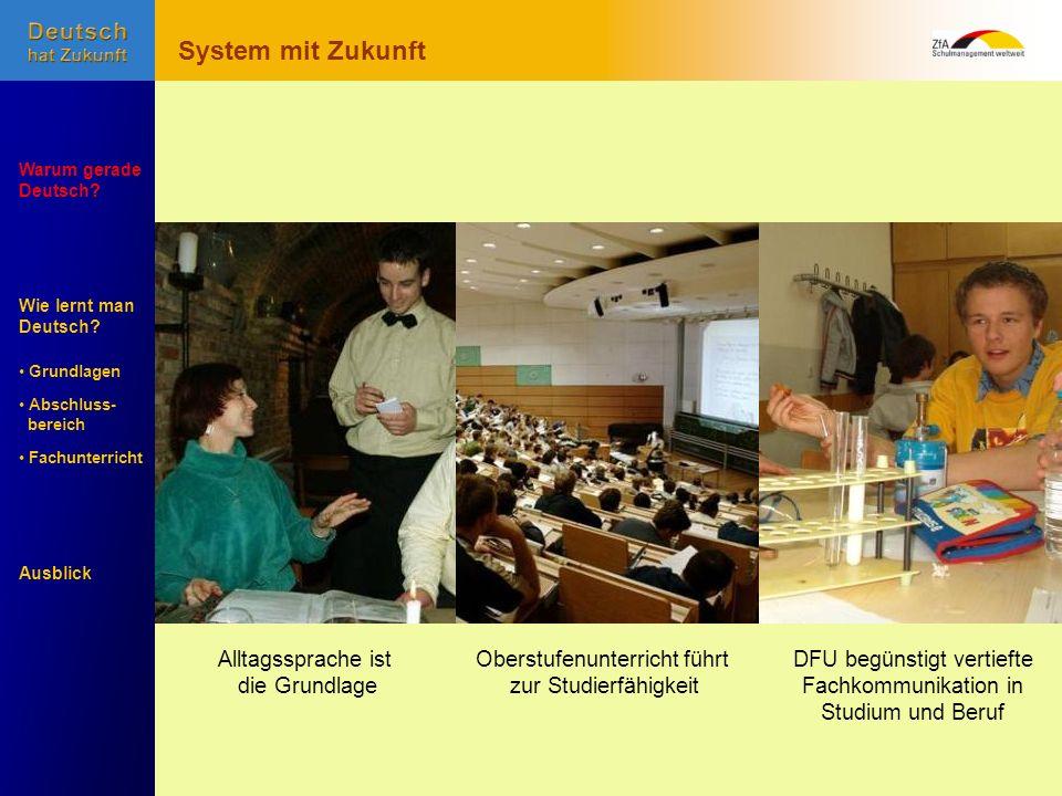 Wie lernt man Deutsch? Warum gerade Deutsch? Ausblick Grundlagen Abschluss- Abschluss- bereich Fachunterricht Fachunterricht DFU begünstigt vertiefte