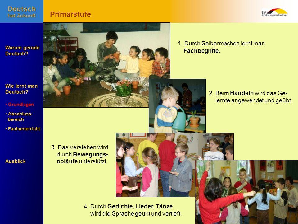 Wie lernt man Deutsch? Warum gerade Deutsch? Ausblick Grundlagen Abschluss- Abschluss- bereich Fachunterricht Fachunterricht Primarstufe 2. Beim Hande