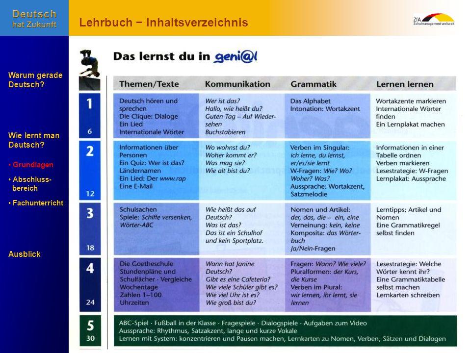 Wie lernt man Deutsch? Warum gerade Deutsch? Ausblick Grundlagen Abschluss- Abschluss- bereich Fachunterricht Fachunterricht Lehrbuch Inhaltsverzeichn