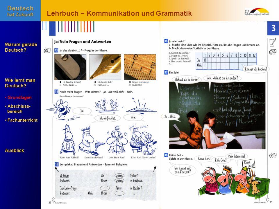 Wie lernt man Deutsch? Warum gerade Deutsch? Ausblick Grundlagen Abschluss- Abschluss- bereich Fachunterricht Fachunterricht Lehrbuch Kommunikation un