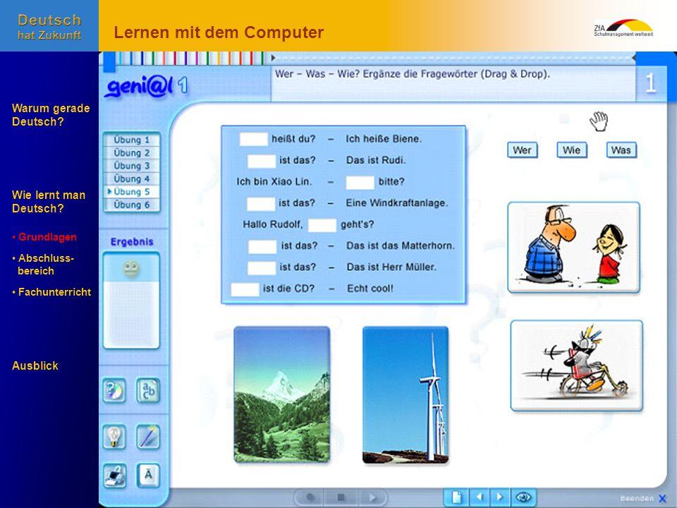 Wie lernt man Deutsch? Warum gerade Deutsch? Ausblick Grundlagen Abschluss- Abschluss- bereich Fachunterricht Fachunterricht Lernen mit dem Computer