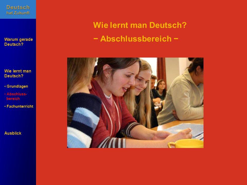 Wie lernt man Deutsch? Warum gerade Deutsch? Ausblick Grundlagen Abschluss- Abschluss- bereich Fachunterricht Fachunterricht Wie lernt man Deutsch? Ab