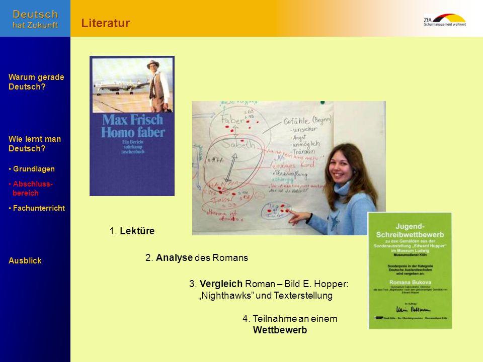 Wie lernt man Deutsch? Warum gerade Deutsch? Ausblick Grundlagen Abschluss- Abschluss- bereich Fachunterricht Fachunterricht 1. Lektüre 2. Analyse des