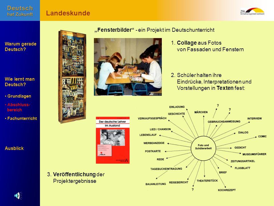 Wie lernt man Deutsch? Warum gerade Deutsch? Ausblick Grundlagen Abschluss- Abschluss- bereich Fachunterricht Fachunterricht 2. Schüler halten ihre Ei