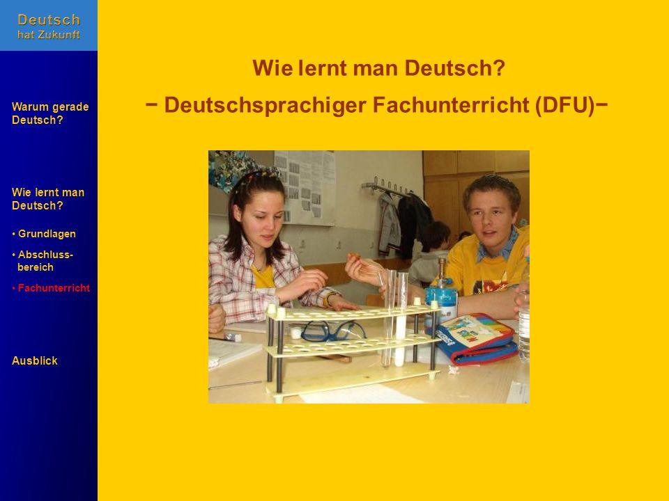 Wie lernt man Deutsch? Warum gerade Deutsch? Ausblick Grundlagen Abschluss- Abschluss- bereich Fachunterricht Fachunterricht Wie lernt man Deutsch? De
