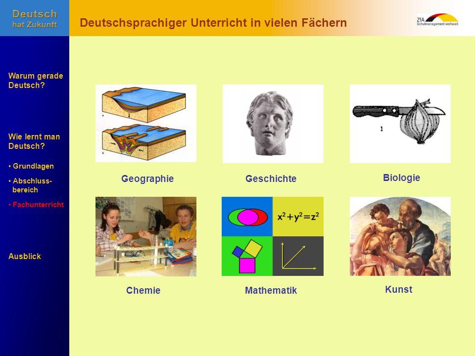Wie lernt man Deutsch? Warum gerade Deutsch? Ausblick Grundlagen Abschluss- Abschluss- bereich Fachunterricht Fachunterricht Chemie Geographie Biologi