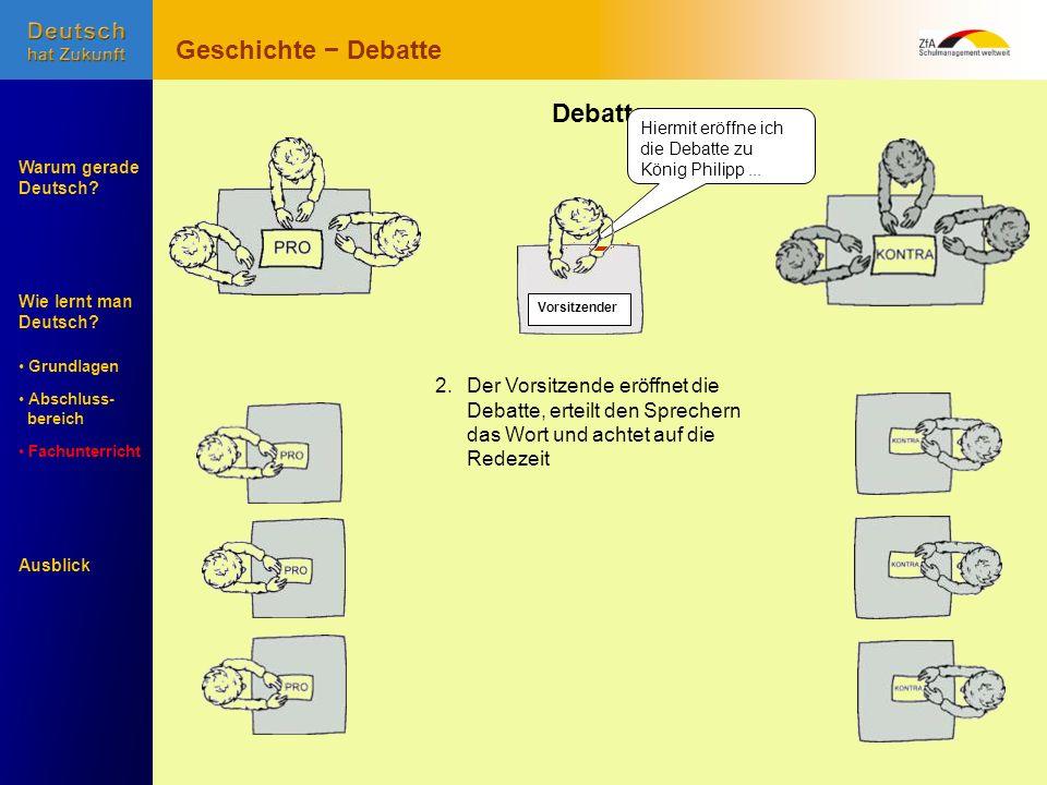 Wie lernt man Deutsch? Warum gerade Deutsch? Ausblick Grundlagen Abschluss- Abschluss- bereich Fachunterricht Fachunterricht Debatte 1. Argumente samm
