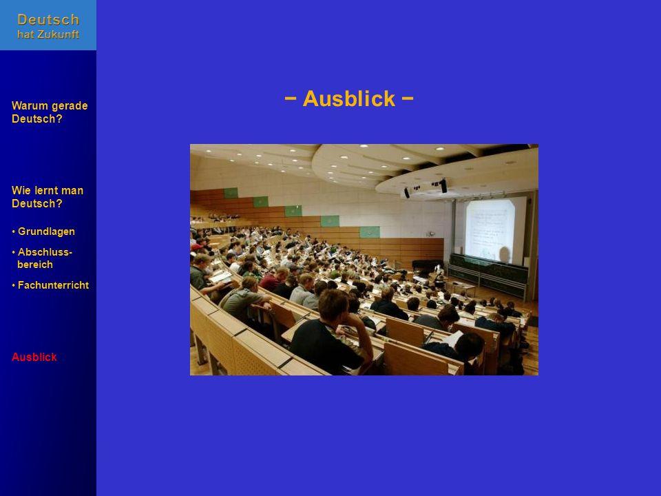 Wie lernt man Deutsch? Warum gerade Deutsch? Ausblick Grundlagen Abschluss- Abschluss- bereich Fachunterricht Fachunterricht Ausblick