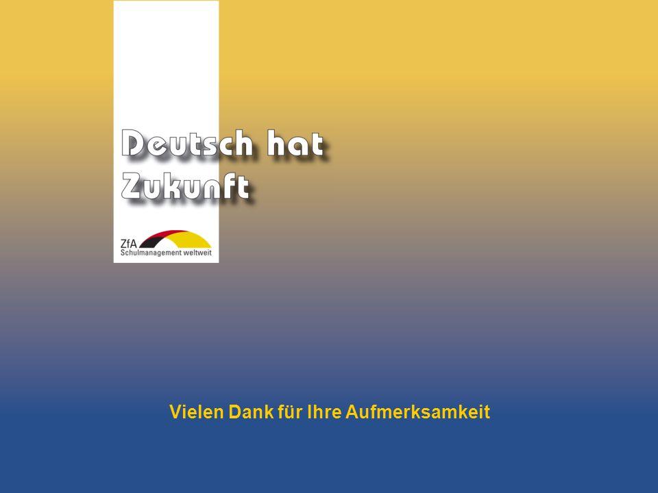 Wie lernt man Deutsch? Warum gerade Deutsch? Ausblick Grundlagen Abschluss- bereich Fachunterricht Vielen Dank für Ihre Aufmerksamkeit
