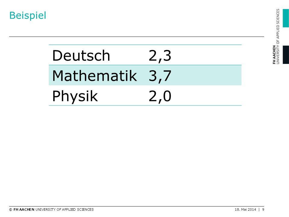 © FH AACHEN UNIVERSITY OF APPLIED SCIENCES18. Mai 2014 | 9 Beispiel Deutsch2,3 Mathematik3,7 Physik2,0