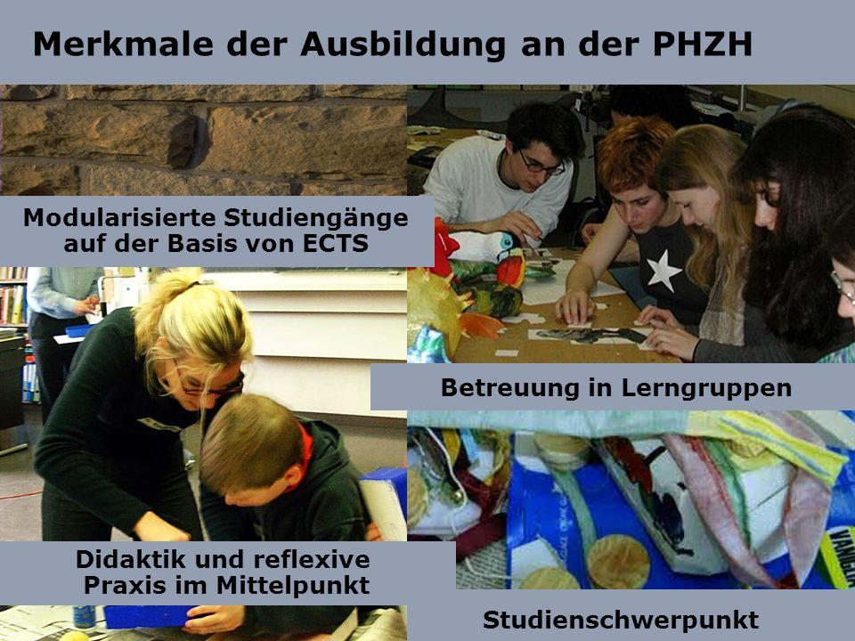 Studienschwerpunkt Merkmale der Ausbildung an der PHZH Betreuung in Lerngruppen Didaktik und reflexive Praxis im Mittelpunkt Modularisierte Studiengän
