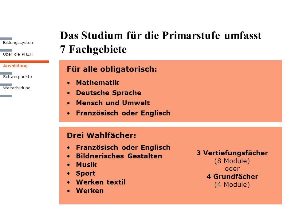 Das Studium für die Primarstufe umfasst 7 Fachgebiete Für alle obligatorisch: Mathematik Deutsche Sprache Mensch und Umwelt Französisch oder Englisch