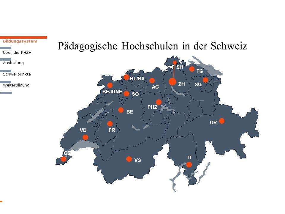 Pädagogische Hochschulen in der Schweiz Bildungssystem Weiterbildung Über die PHZH Ausbildung Schwerpunkte VS GE SG GR TI BE FR VD PHZ SO ZH BEJUNE BL