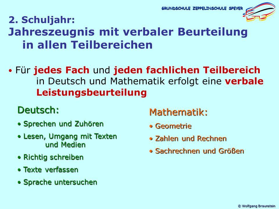 © Wolfgang Braunstein GRUNDSCHULE ZEPPELINSCHULE SPEYER 16 schriftliche Leistungsnachweise im Schuljahr (bisher 22-28 Klassenarbeiten), davon 10 Nachweise in Deutsch (Richtig schreiben/Texte verfassen je 3, Leseverständnis/Sprache untersuchen je 2), 6 Nachweise in Mathematik (Berücksichtigung der fachlichen Teilbereiche) bis zur Hälfte der Nachweise pro Fach können individuell, d.h.