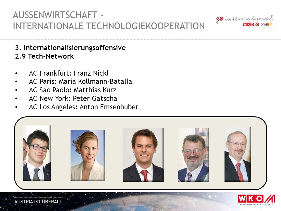 3. Internationalisierungsoffensive 2.9 Tech-Network AC Frankfurt: Franz Nickl AC Paris: Maria Kollmann-Batalla AC Sao Paolo: Matthias Kurz AC New York