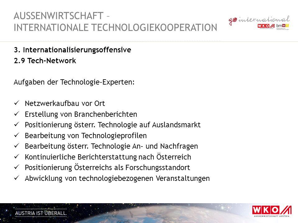 3. Internationalisierungsoffensive 2.9 Tech-Network Aufgaben der Technologie-Experten: Netzwerkaufbau vor Ort Erstellung von Branchenberichten Positio